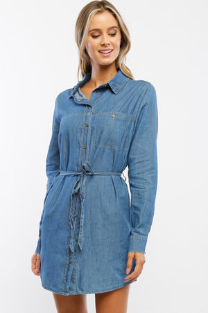 Denim Belted Tunic Shirt Dress