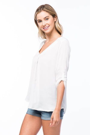 Washed Satin V-Neck Top