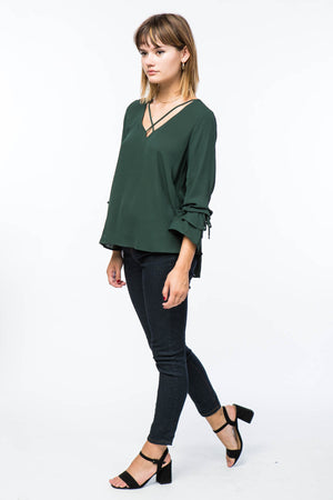 Front Cross Blouse with Tiered Bell Sleeves