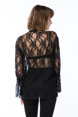 Bell Sleeve Lace Top With Roses