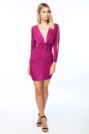 PLUNGING KNOT FRONT BODYCON DRESS