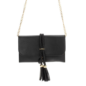 Flapover clutch with Braided Tassel