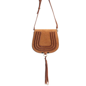 Mini Saddle Bag with Tassel Crossbody