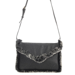 Faux Fur Trim Envelop Clutch