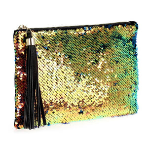Dual Tone Sequin Zip Top Clutch