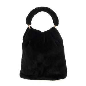 Faux Fur Wristlet Hobo Bag