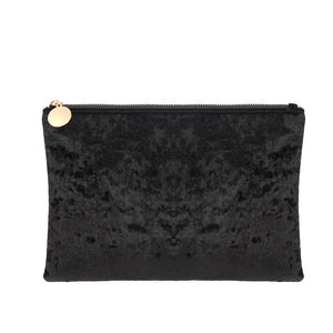 Zip Top Crushed Velvet Clutch with Chain