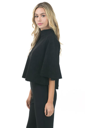 Faux Suede Crop Top with Flutter Sleeve