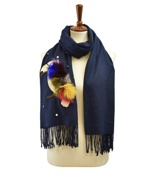 Faux Fur Tail Parrot Scarf