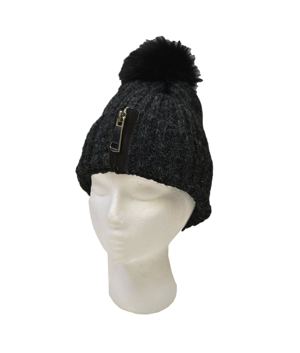 Zipper Sherpa Lined Beanie with Pom