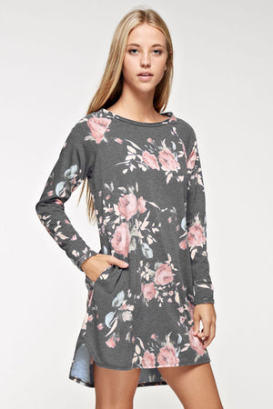 Floral Print French Terry Tunic Dress