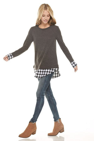 Knit Sweater with Plaid Layers