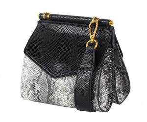SNAKESKIN DOUBLE SIDED CROSSBODY