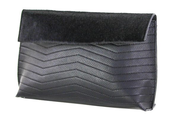 Chevron Quilted Foldover Clutch