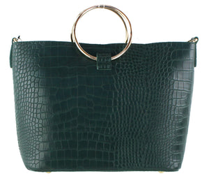 FAUX CROC RING HANDLE TOTE