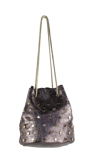 Genuine Leather Metallic Bucket Bag