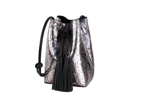 Metallic Snake Bucket Bag