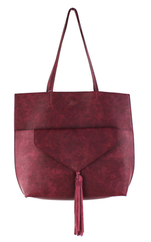 TASSEL TOTE W FRONT POCKET ENVELOPE CLUTCH