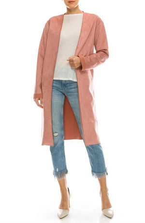 Faux Suede Open Coat