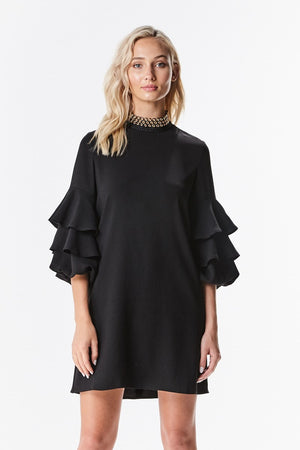 Grommet Neck Bell Sleeve Shift Dress