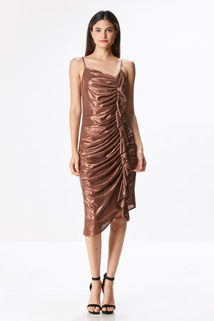 Metallic Side Rouche Party Dress