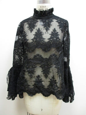 Lace Scallop Blouse with Bell Sleeves