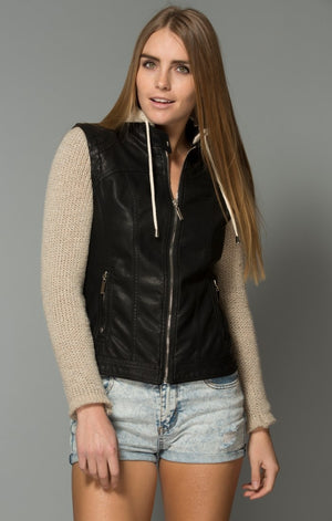 Faux Leather & Knit Jacket