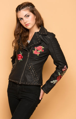 Roses Faux Leather Biker Jacket