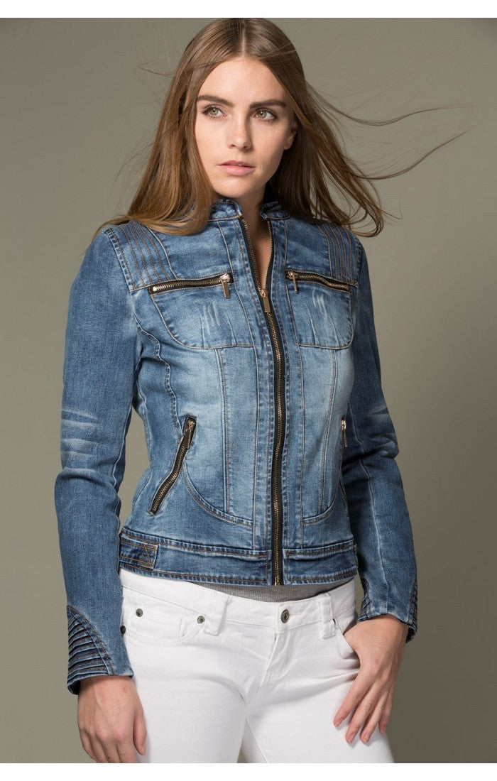 Zippers Fitted Denim Jacket Tias Place