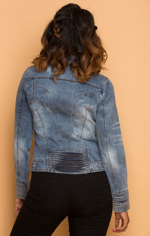 Zippers Fitted Denim Jacket