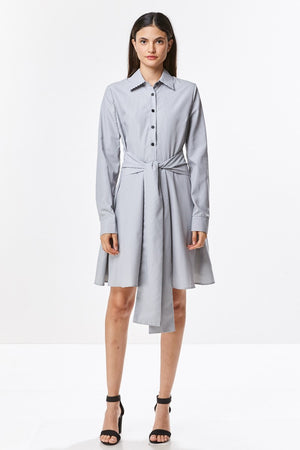 Tie Front Stripe Shirt Dress