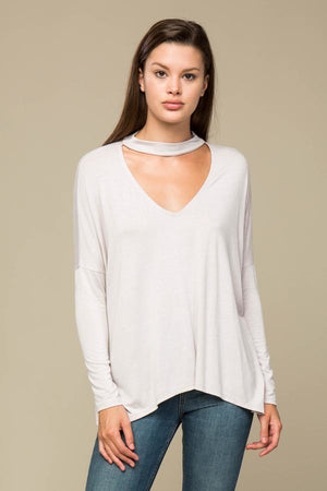 Faux Choker Cut Out Top