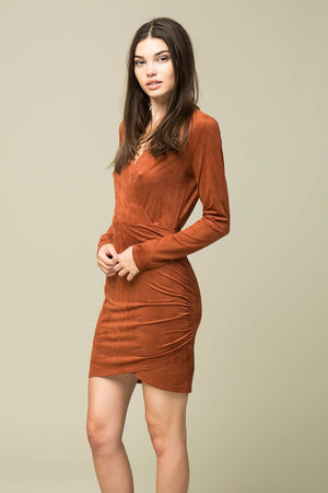 Faux Suede Wrap Top Rouched Dress