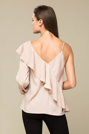 One Sleeve Ruffle Blouse