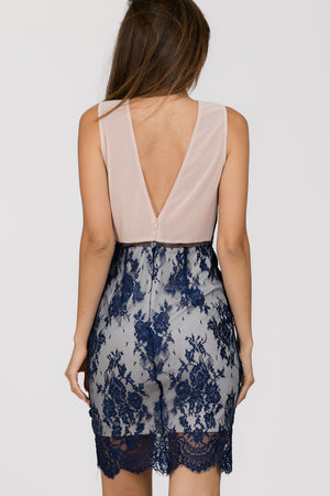 Bodycon Lace Overlay Dress