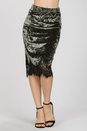 Crushed Velvet Midi Skirt with Lace