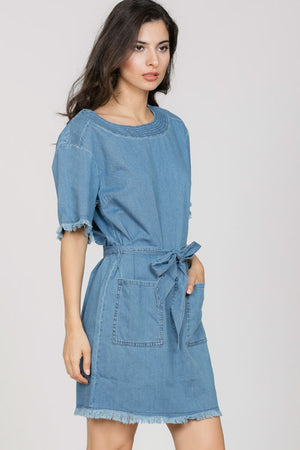 Denim Belted Dress with Stitch Detail