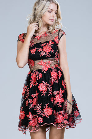 EMBROIDERED CUTOUT PARTY DRESS