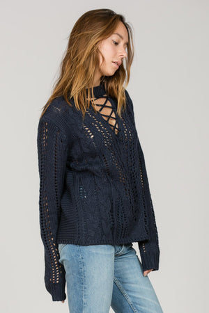 Lace UP Front Knit Sweater