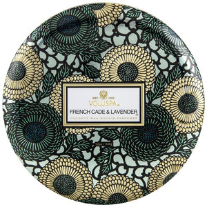 3 WICK CANDLE IN DECORATIVE TIN FRENCH CADE LAVENDER