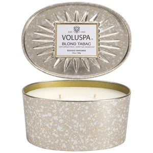 OVAL TIN 2 WICK CANDLE BLOND TABAC
