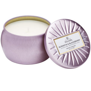PETITE DECORATIVE TIN CANDLE AURANTIA & BLACKBERRY