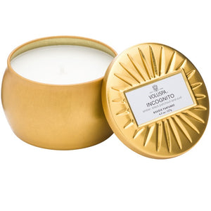 PETITE DECORATIVE TIN CANDLE INCOGNITO