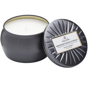 PETITE DECORATIVE TIN CANDLE MAKASSAR EBONY & PEACH