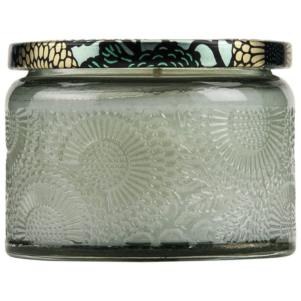 PETITE EMBOSSED GLASS JAR CANDLE FRENCH CADE LAVENDER