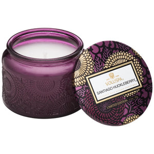 PETITE EMBOSSED GLASS JAR CANDLE SANTIAGO HUCKLEBERRY
