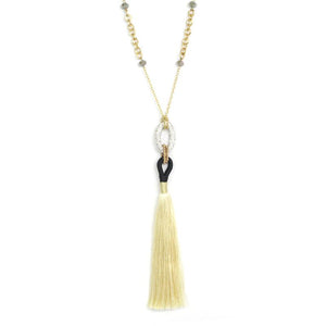 Crystal & Fringe Pendant Necklace