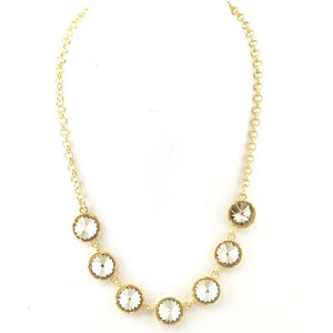 Crystal Solitaires Statment Necklace