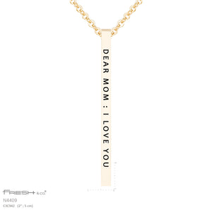 """Dear Mom"" Vertiacl Bar Necklace"
