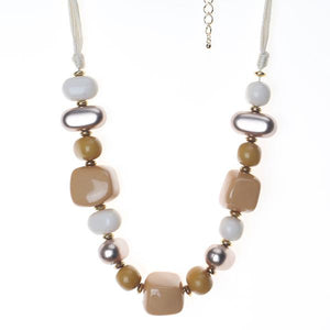 Glossed Enamel Stone Necklace